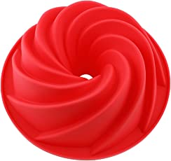 Vicloon Silikon Gugelhupfform, Bundform und Muffinform für Muffins, Cupcakes, Pudding und Eiswürfel, Backform 25 cm, Rot