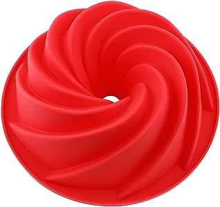 Vicloon Stampo in Silicone per Torte, Stampo per Ciambella Cake Molds, Bigné, Pudding e Cubi di Ghiaccio, Muffa da Forno 25*9 cm, Rosso