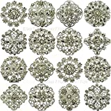 Elixir 77 UK NEW 24pcs MIX SET SILVER FLOWER PIN BROOCHES DIAMANTE CRYSTAL JOBLOT BRIDAL BROOCH WEDDING UK SELLER