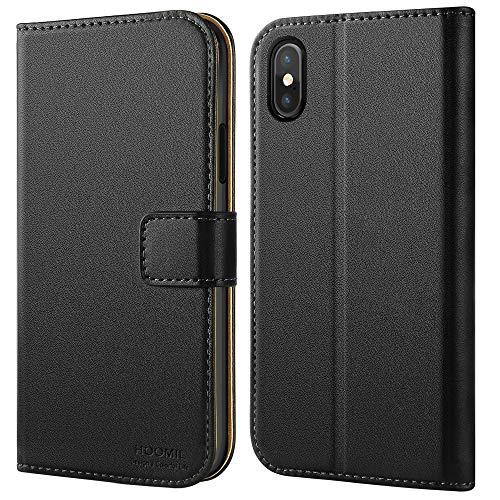 HOOMIL iPhone XS Hülle, iPhone X Hülle, Premium Leder Handyhülle Flip Schutzhülle für Apple iPhone X/iPhone XS Tasche, Schwarz