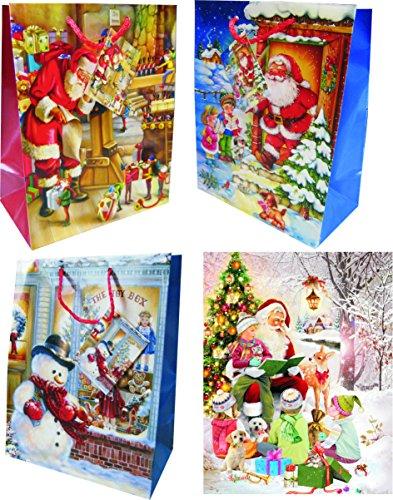 sacchetti regalo Natale Large (grande)-K & B Vertrieb Borse Natale sacchetti bustine buste regalo Natale 7326(24pezzi)