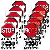 STOP Alarm System Aufkleber Sticker 4cm Warnung Hinweis gesichert gespiegelt für Innenseite Fenster Scheibe (5)