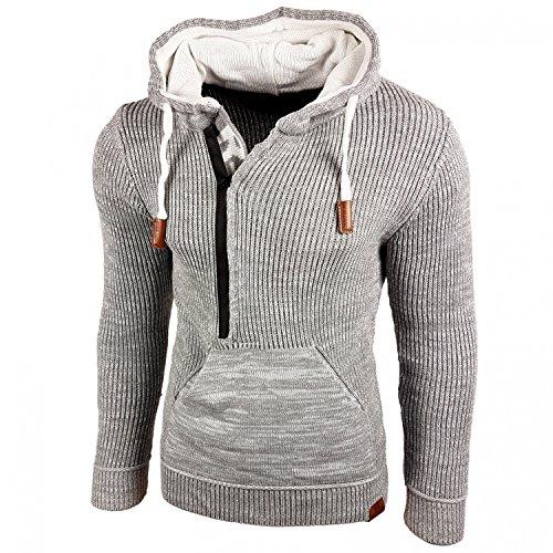 Slim Fit Herren-pullover (Rusty Neal Top Herren Winter Kapuzenpullover Pulli Sweatshirt Jacke RN-13277 Neu, Farbe:Grau;Größe:M)