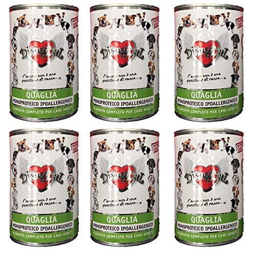 Disugual - monoproteico quaglia - pack da 6 scatolette da 400 g