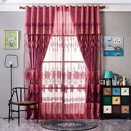 Yunhigh Window Voile Curtains Transparent Floral Tulle Net Silk Curtain Drape For Bedroom Living Room