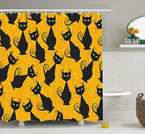 Vintage Decor Shower Curtain Set, Black Cat Pattern for Halloween On Orange Background Celebration Gift Graphic Patterns, Bathroom Accessories, 60x72 inches, Black Orange
