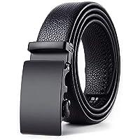 Zacharias Men's Faux Leather Belt Automatic Buckle AB-001 (Black;Free Size)