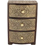 Art For Gifting Handcrafted Wooden Antique Half Brass Plated Jewellery Box With 3 Drawers (5.5 X 3 Inch, 850 G, 8.5 Inch, 140)