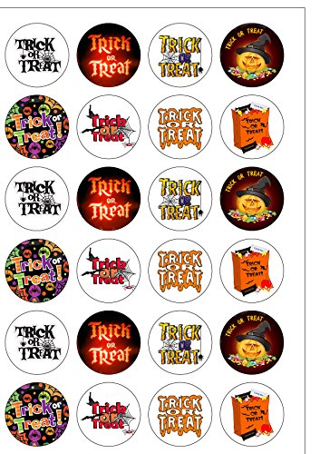 24Vorgeschnittene Halloween Trick or Treat Mottoparty Essbar Wafer Papier rund Kuchen Topper Dekorationen (Halloween Kuchen Essbare Topper)