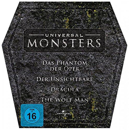 Universal Monsters: Das Phantom der Oper, Der Unsichtbare, Dracula, The Wolf Man (Grabstein-box)