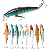 ROZKITCH 8 Pcs Fishing Lures Minnow Lures Topwater Baits Jigs Set for Bass Trout Salmon Saltwater/FreshwaterMinnow Fishing B