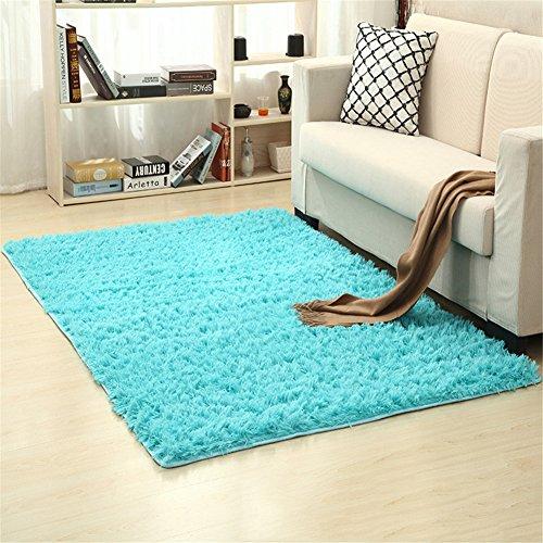 Ommda Teppiche Wohnzimmer Flauschig Modern Outdoor Teppiche Rutschfest Anti Rutsch Rechteckig Blaues Grün 160x230cm (Pulver-blau-teppich)