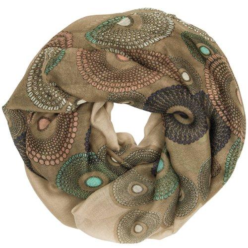 CASPAR - Écharpe tube pour femme - foulard avec imprimé Paisley, cercles et points - plusieurs coloris - SC317