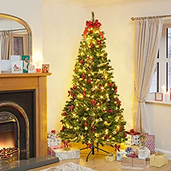 7ft Pre-Lit Decorated Pop-Up LED Christmas Tree: Amazon.co ...
