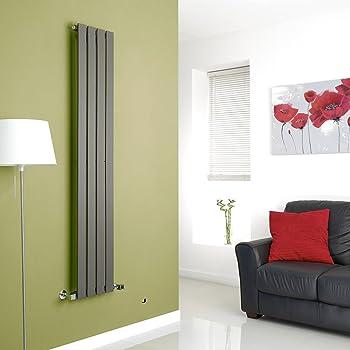 Milano Alpha - Vertical Flat Panel Slim Column Designer Radiator - Anthracite - 1600 x 280 mm