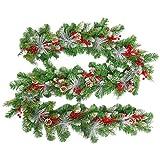 HENGMEI 300cm Ghirlanda di Natale Natalizia Decorativa Corona di Natale Festa Natalizia Decorazione per Festa a casa (E,con Foglie Bianche)