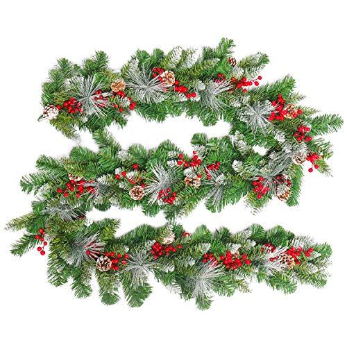 HENGMEI 300cm Weihnachtskranz Türkranz Dekokranz Weihnachtsgirlande PVC Tannengirlande Weihnachtsdeko Tannenkranz (E, mit weißem Blatt, 300cm)