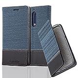 Cadorabo Hülle für Nokia 5-2017 - Hülle in DUNKEL BLAU SCHWARZ – Handyhülle mit Standfunktion und Kartenfach im Stoff Design - Case Cover Schutzhülle Etui Tasche Book