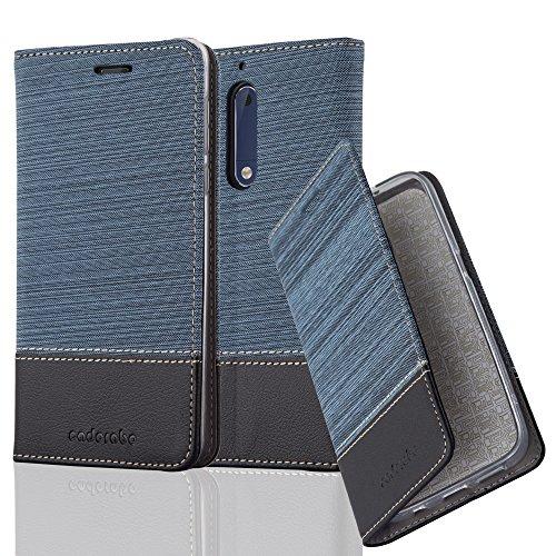 Cadorabo - Book Style Schutz-Hülle für > Nokia 5 < case cover im Stoff - Kunstleder Design mit Kartenfach, Standfunktion und unsichtbarem Magnet-Verschluss in DUNKEL-BLAU-SCHWARZ