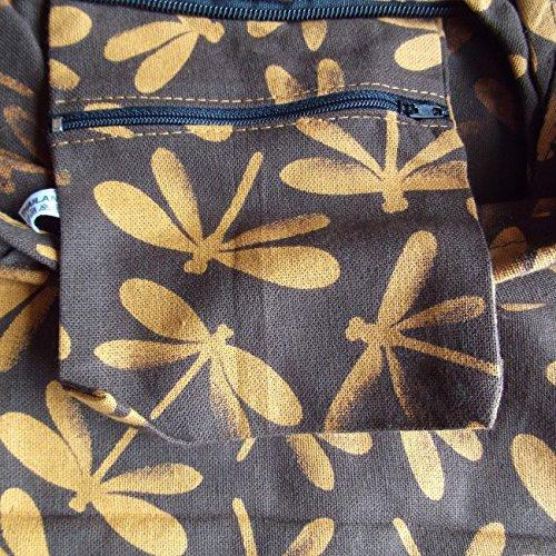 Hippie borse borsa donna Medium Libellula Yam Hobo Boho Hippy Motivo fatta a mano croce corpo borsa da spiaggia Festival Brown