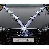 Organza M Auto Schmuck Braut Paar Rose Deko Dekoration Autoschmuck Hochzeit Car Auto Wedding Deko Girlande PKW (Reinweiß/Weiß