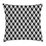 RAINNY Black and White Throw Pillow Cushion Cover, 3D Style Boxes in Geometrical Design with Optical Effect Striped Cubes, Decorative Square Accent Pillow Case, 18 X 18 inches, Black White