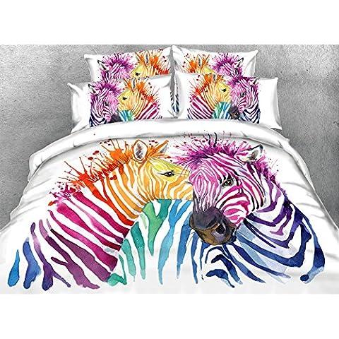 JF-216 artístico colorido estilo Óleo amantes de cebra imprimir sobre tela blanca conjunto de ropa de cama queen, king size
