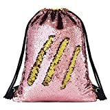 Deeplive Meerjungfrauen-Rucksack mit Kordelzug, modisch, wendbar, Pailletten-Rucksack, glitzernd, für Schule, Outdoor-Sport, für Mädchen und Frauen, GoldPink