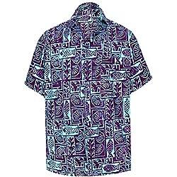LA LEELA Fiesta Playa Hawai Cuello difusión Informal Manga Corta Camisa Bolsillo Delantero Azul_AA126 XXL-Pecho Contorno (in cms):137-149