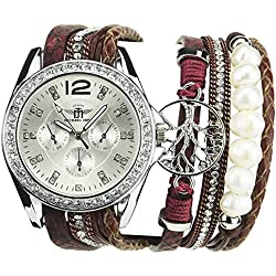 MICHAEL JOHN -Women's Watch Red Quartz Silver case Steel Analogue Display Band Faux Leather