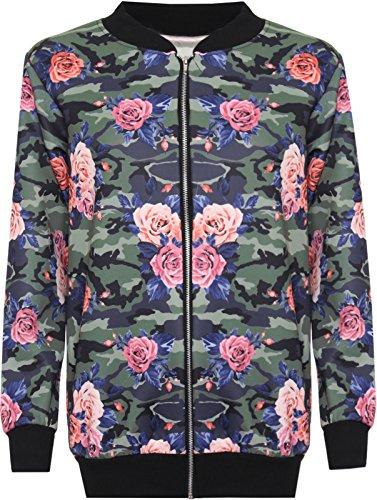 Neue Damen langen Ärmeln Blumenmuster Bomber Jacke Reißverschluss Top Gr. 44, Camoflage Rose (Top Butterfly Leaf)