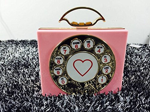 Zarapack femmes acrylique rigide de soirée téléphone Style Sac bandoulière - rose