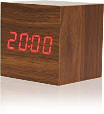MK Wooden Square Shape Digital Electronic Alarm Table Desk Clock with Temperature Date Time Display Assorted Color
