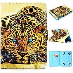 Coque Universel Flip Support Style Housse Pochette pour 10 Pouces Tablette Universal 10 inch Tablet Coque Etui de Protection en Cuir Coque pour Samsung/ASUS/Lenovo 10 Pouces Tablette etc, Lion
