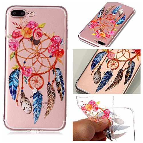 iPhone 7 Plus 8 Plus Custodia, SportFun Slim Flexible TPU Custodia Protettiva in silicone per iPhone 8 Plus 7 Plus Case gufo Crisantemo cavallo (Hirsch) Blatt Blumen