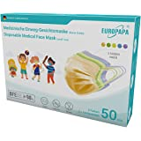 EUROPAPA 50x Bunte medizinische Mini Model S in kleine Größe OP Maske 3-lagig Atemschutzmasken Typ IIR TÜV CE zertifiziert Ch