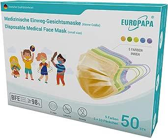 EUROPAPA 50x Bunte medizinische Mini Model S in kleine Größe OP Maske 3-lagig Atemschutzmasken Typ IIR TÜV CE zertifiziert Chirurgische Einwegmaske Mundschutz EN14683 BFE ≥ 98%