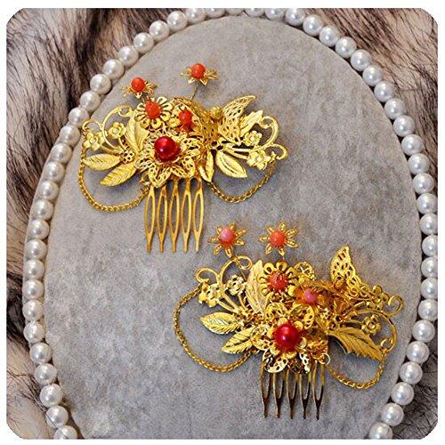 Ensemble de 2 peignes traditionnels charme exquis de cheveux de mariage chinois
