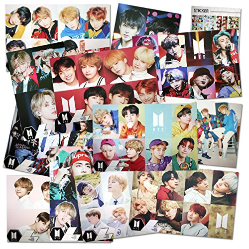 K-POP kpop BTS Bangtan Boys Set 12 Poster + 1 Aufkleber Rose -
