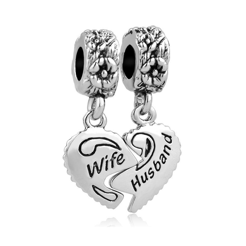 Uniqueen Jewellery Wife Husband Heart Love Charms Dangle Bead Set For Pandora/Troll/Chamilia Charm Bracelet