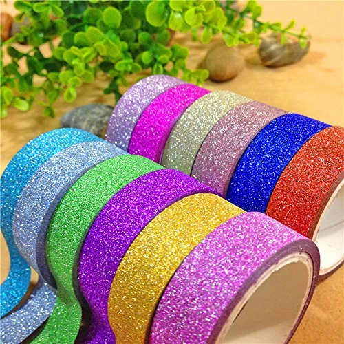 Shop Buzz Pack of 10 Colourful Decorative Adhesive Glitter Tape Rolls, Length 3m Each (Assorted Colours)  available at amazon for Rs.130