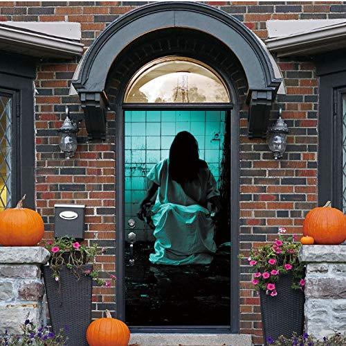Japanische Ruine Banshee Tür Aufkleber Für Halloween Dekorationen Schlafzimmer Holztür Erneuern Abziehbilder Selbstklebende Tapete