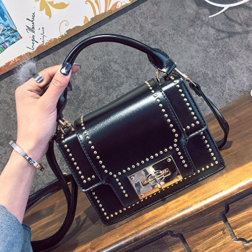 Pacchetto LiZhen femmina marea nuovi rivetti elegante piccoli pacchetti di partito coreano wild Ladies borse tracolla messenger bag custodia package, marrone Nero
