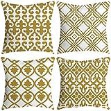 NEEDRA Satz von 4 dekorativen blauen und weißen Porzellan Throw Pillow Cover 18