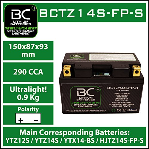 BC Lithium Batteries BCTZ14S-FP-S Batteria Moto al Litio LiFePO4, Nero, 1
