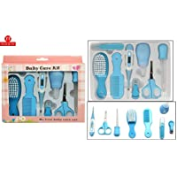 FI - FLICK IN Premium Quality 8 Pcs Health Care & Grooming Kit Manicure Set for Newborn Baby, Kids Nail Hair Thermometer Grooming Brush (Blue)