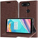 #5: DMG PU Leather Wallet Case Book Cover with Stand and Card Slots for OnePlus 5T (Coffee Brown)