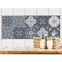 Graz Design® Fliesenbilder Klebefliesen Fliesen Bekleben Bad Küche  Ornamente Rosa Blau Mosaik (10x10cm /