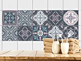 GRAZDesign 770352_15x15_FS10st Fliesenaufkleber Mandala | Fliesen Zum überkleben im Bad und Küche | Grau - Blau - Altrosa Mosaik | Wandfliesen-Aufkleber Selbstklebend (15x15cm//Set 10 Stück)