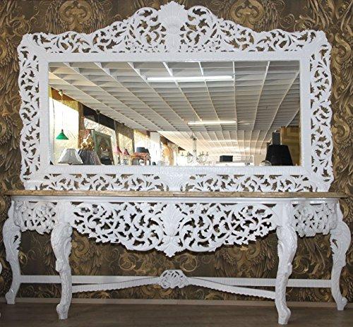 Casa Padrino Riesige Barock Spiegelkonsole Weiß mit cremefarbener Marmorplatte - Luxus Wohnzimmer Möbel Konsole mit Spiegel